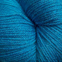Load image into Gallery viewer, Skein of Cascade Heritage Silk Sock weight yarn in the color Turquoise (Blue) for knitting and crocheting.