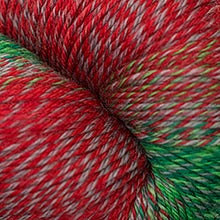 Load image into Gallery viewer, Skein of Cascade Heritage Wave Sock weight yarn in the color Holidaze (Red) for knitting and crocheting.