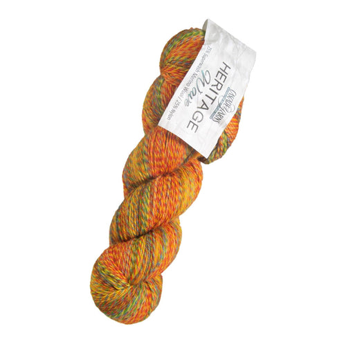 Skein of Cascade Heritage Wave Sock weight yarn in the color Rainbow (Multi) for knitting and crocheting.