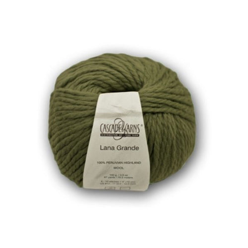 Skein of Cascade Llana Grande Super Bulky weight yarn in the color Cadmium Green (Green) for knitting and crocheting.