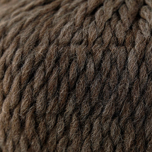 Skein of Cascade Llana Grande Super Bulky weight yarn in the color Gun Metal (Brown) for knitting and crocheting.