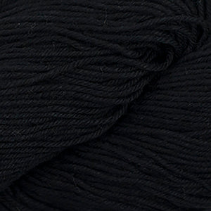 Skein of Cascade Nifty Cotton Worsted weight yarn in the color Black (Black) for knitting and crocheting.