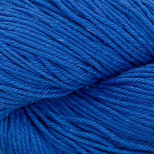 Skein of Cascade Nifty Cotton Worsted weight yarn in the color Blue  (Blue) for knitting and crocheting.