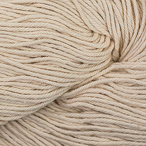 Skein of Cascade Nifty Cotton Worsted weight yarn in the color Buff (Tan) for knitting and crocheting.