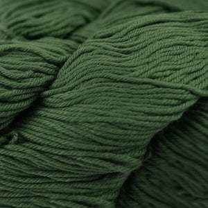 Skein of Cascade Nifty Cotton Worsted weight yarn in the color Chive (Green) for knitting and crocheting.