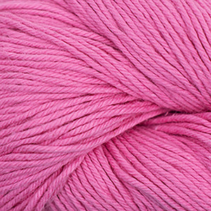 Skein of Cascade Nifty Cotton Worsted weight yarn in the color Rose Pink (Pink) for knitting and crocheting.
