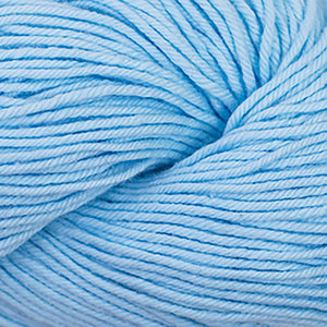 Skein of Cascade Nifty Cotton Worsted weight yarn in the color Soft Blue (Blue) for knitting and crocheting.