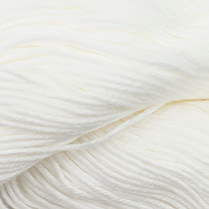 Skein of Cascade Nifty Cotton Worsted weight yarn in the color White  (White) for knitting and crocheting.