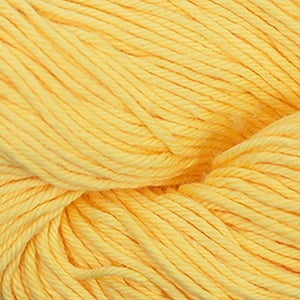 Skein of Cascade Nifty Cotton Worsted weight yarn in the color Yellow (Yellow) for knitting and crocheting.