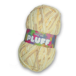 Skein of Cascade Pluff Bulky weight yarn in the color Lamb (Cream) for knitting and crocheting.