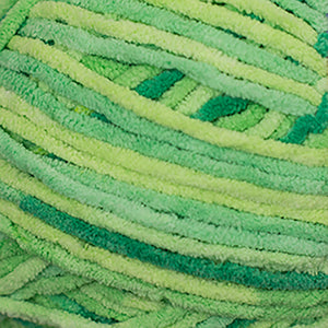 Skein of Cascade Pluff Bulky weight yarn in the color Lime (Green) for knitting and crocheting.