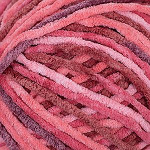 Skein of Cascade Pluff Bulky weight yarn in the color Rose (Pink) for knitting and crocheting.