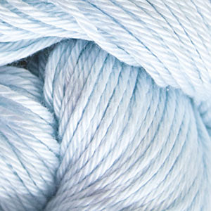 Skein of Cascade Ultra Pima DK weight yarn in the color Alaska Sky (Blue) for knitting and crocheting.