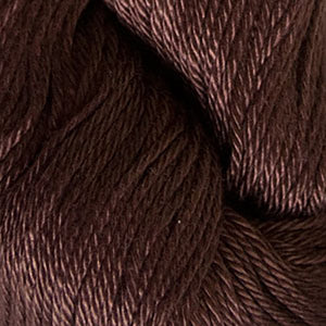 Skein of Cascade Ultra Pima DK weight yarn in the color Chocolate (Brown) for knitting and crocheting.