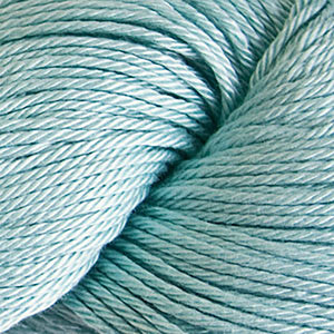 Skein of Cascade Ultra Pima DK weight yarn in the color Ice (Blue) for knitting and crocheting.