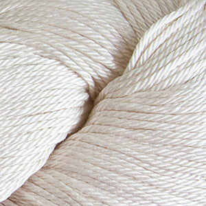 Skein of Cascade Ultra Pima DK weight yarn in the color Natural (Cream) for knitting and crocheting.
