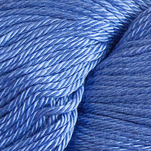 Skein of Cascade Ultra Pima DK weight yarn in the color Periwinkle (Blue) for knitting and crocheting.