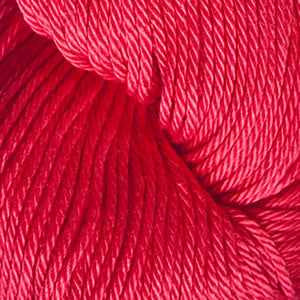 Skein of Cascade Ultra Pima DK weight yarn in the color Poppy Red (Red) for knitting and crocheting.