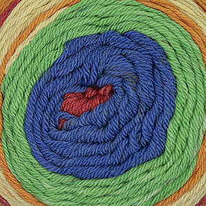 Skein of Cascade Whirligig DK weight yarn in the color Circus (Multi) for knitting and crocheting.