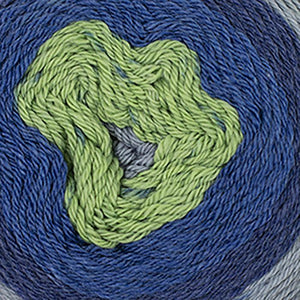 Skein of Cascade Whirligig DK weight yarn in the color Seattle (Blue) for knitting and crocheting.