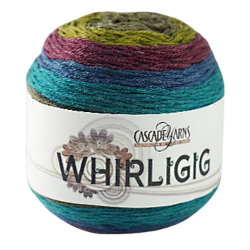 Skein of Cascade Whirligig DK weight yarn in the color Shrine (Multi) for knitting and crocheting.