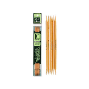 "Clover 7"" Takumi Double-Pointed Knitting Needles in and outside of packaging"