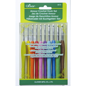 Set of 10 varied sizes of Clover Amour Crochet Hooks in packaging