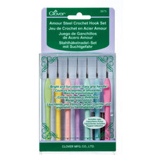 Load image into Gallery viewer, Set of 7 varied sizes of Clover Amour Steel Crochet Hooks