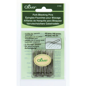 Set of 40 Clover Fork Blocking Pins for knitting and crochet.