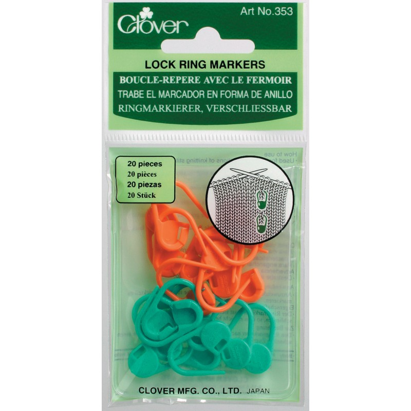 20 Clover Locking Knitting Stitch Markers in packaging.