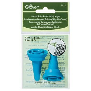 Set of 2 Clover Jumbo Point Protectors for extra large knitting needles in packaging