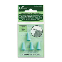 Load image into Gallery viewer, Set of 4 Clover Point Protectors for small-sized knitting needles in packaging