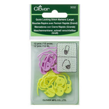 Load image into Gallery viewer, Clover Quick-Locking Large Stitch Markers in packaging