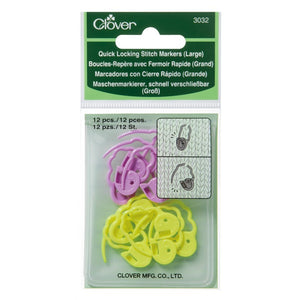 Clover Quick-Locking Large Stitch Markers in packaging
