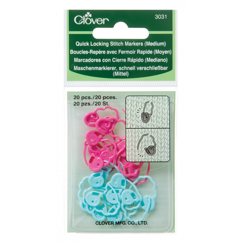Set of pink and blue Clover Quick-Locking Medium Stitch Markers in packaging.
