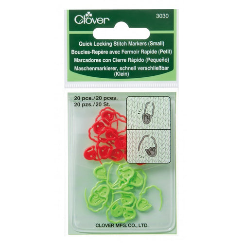 Clover Quick-Locking  Small Stitch Markers in packaging