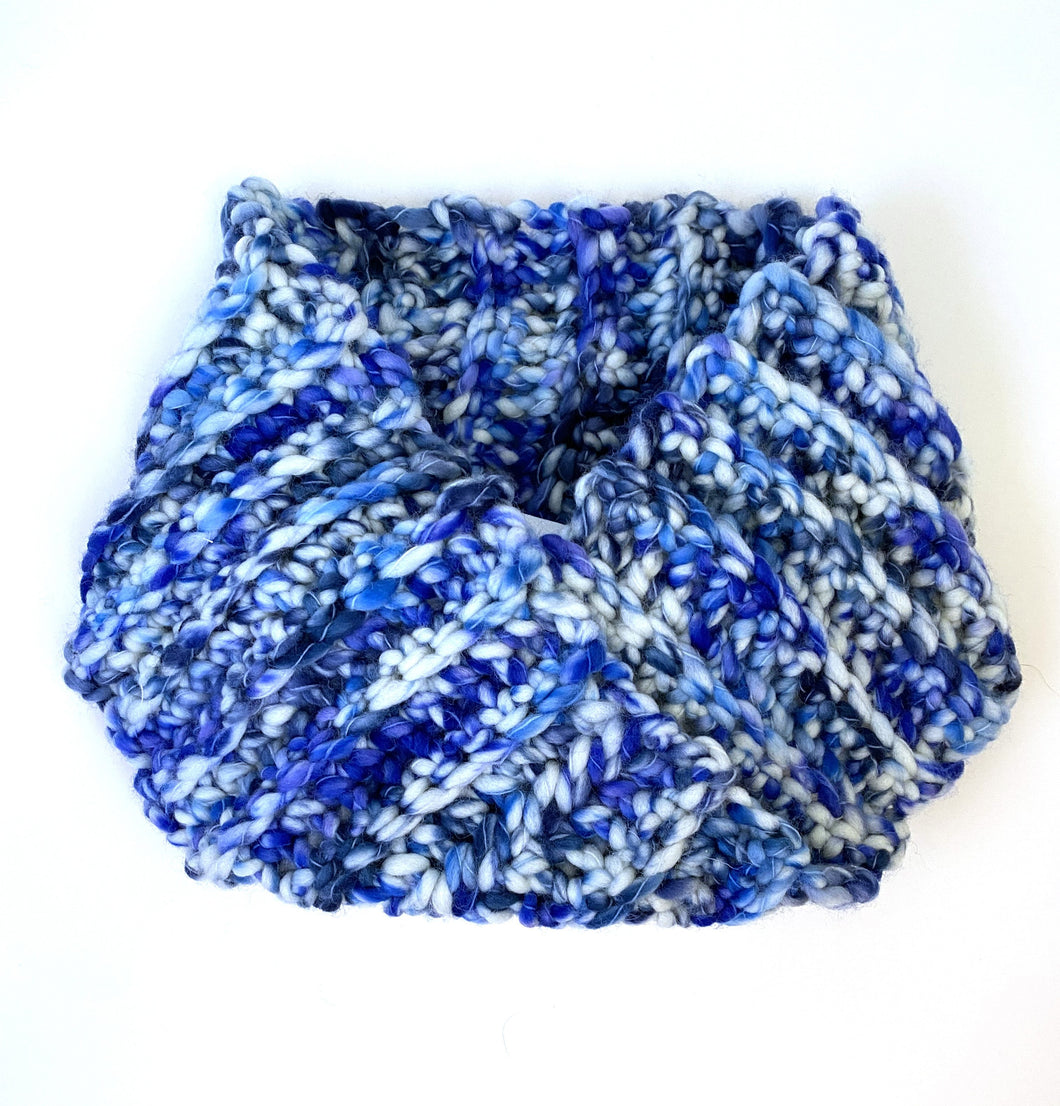 Crocheted cowl in  Berroco Coco Super Bulky weight yarn in the color Coast (Blue)