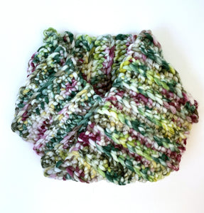 Crocheted cowl in Berroco Coco Super Bulky weight yarn in the colorr Meadow (Green) for knitting and crocheting.