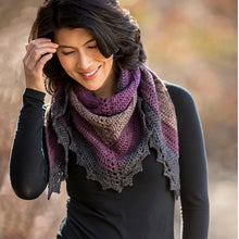 Load image into Gallery viewer, A beautiful shawl crocheted with Cascade  Whirligig yarn and a pattern from the Dark Sky Shawl Crochet Kit.