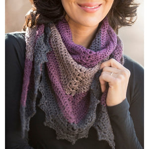 A beautiful shawl crocheted with Cascade  Whirligig yarn and a pattern from the Dark Sky Shawl Crochet Kit.