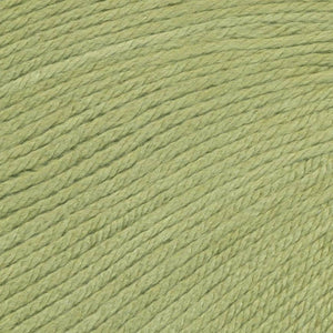 Skein of Ella Rae Cashmereno Aran Worsted weight yarn in the color Peridot (Green) for knitting and crocheting.