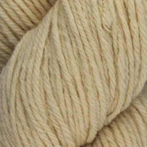 Skein of Juniper Moon Farms Santa Cruz Worsted weight yarn in the color Ivory (Cream) for knitting and crocheting.
