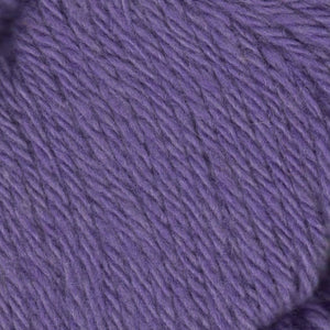 Skein of Juniper Moon Farms Santa Cruz Worsted weight yarn in the color Lavender (Purple) for knitting and crocheting.