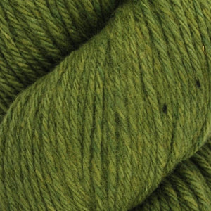 Skein of Juniper Moon Farms Santa Cruz Worsted weight yarn in the color Peridot (Green) for knitting and crocheting.