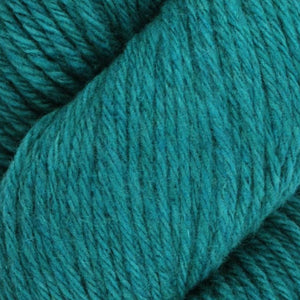 Skein of Juniper Moon Farms Santa Cruz Worsted weight yarn in the color Verdigris (Blue) for knitting and crocheting.