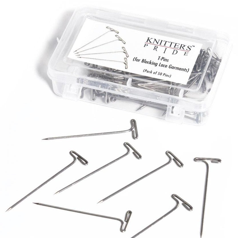 Knitter's Pride Plastic box of Steel T-Pins for blocking knitting and crochet proejcts