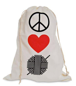 "white muslin graphic ""Peace, Love, Crochet"" Drawstring Bag for crochet projects. by  Knitterella"