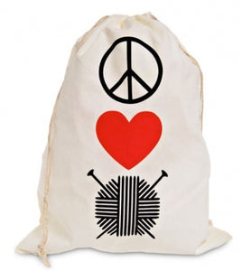 "Knitterella ""Peace, Love, Knit"" screen printed muslin Drawstring Project Bag for knitting projects"
