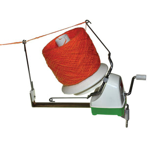 Laci's Jumbo Ball Winder for turning skeins of yarn into balls and cakes.