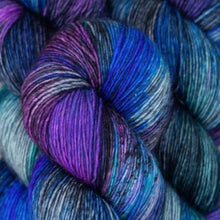 Load image into Gallery viewer, Skein of Madelinetosh A.S.A.P. Super Bulky weight yarn in the color Gosia (Purple) for knitting and crocheting.